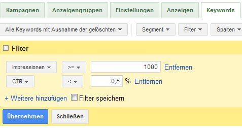 Beispiel für AdWords-Filter