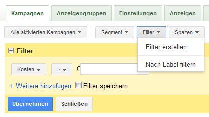 AdWords-Filter anlegen