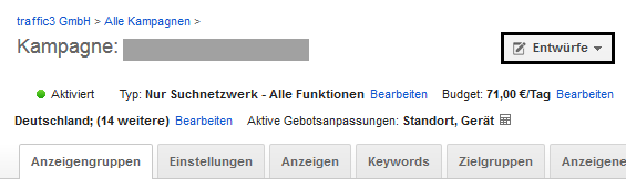 AdWords Kampagnentest - Kampagnenentwurf