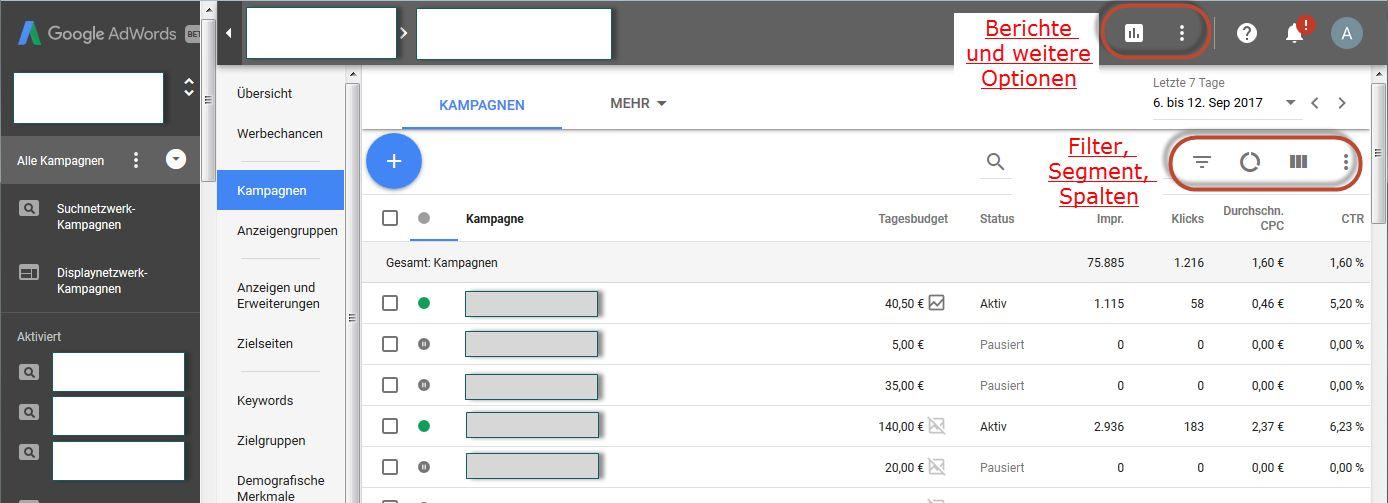 AdWords Next - die neuen Benutzeroberfläche