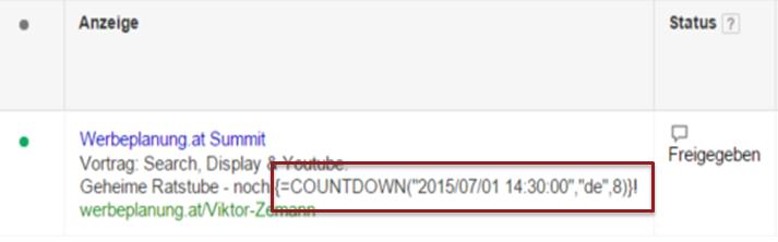 Eingabe der Countdown-Funktion