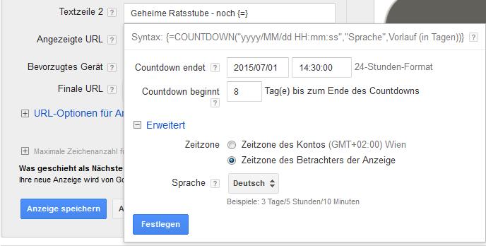 Countdown-Funktion - Eingabelayer
