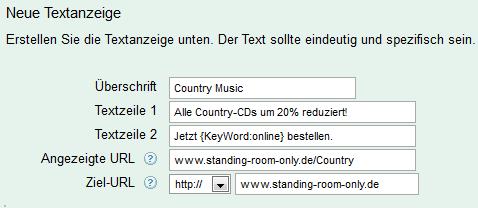 Eingabe Keyword-Platzhalter (Beispiel 2: im Text)