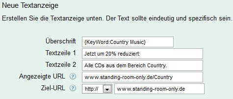 Eingabe Keyword-Platzhalter (Beispiel 1: Headline)