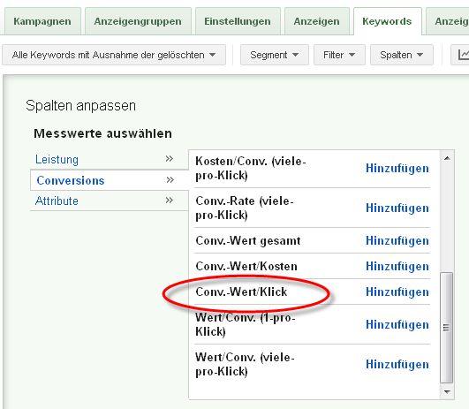 Conversion-Wert pro Klick
