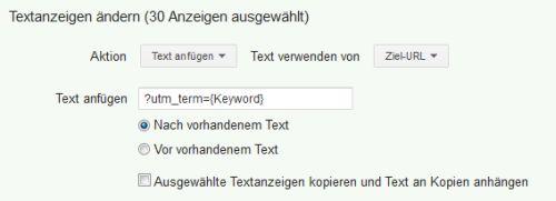 Bulk-Änderungen - Anzeigen Text hinzufügen