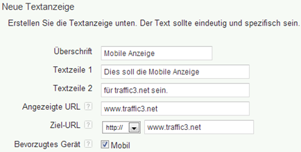 erweiterte Kampagnen - Textanzeige mobil bevorzugt