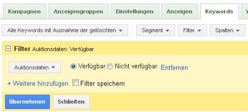 AdWords Filter Auktionsdaten