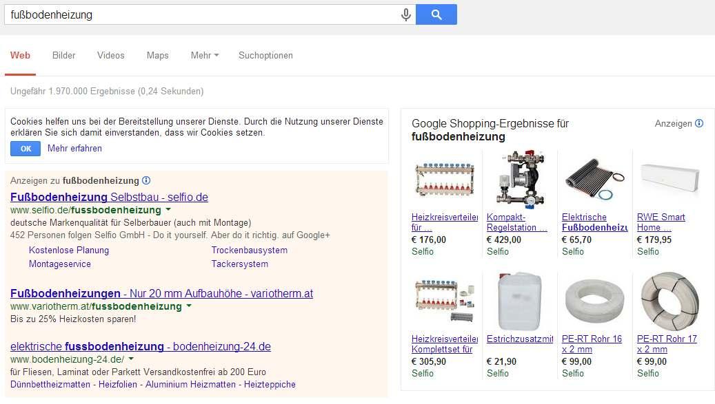 Ausspielung der Google Shopping Anzeigen