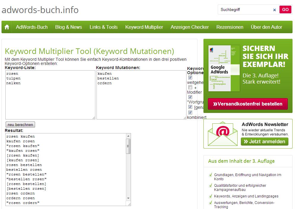 AdWords-Buch - Keyword-Multilpier