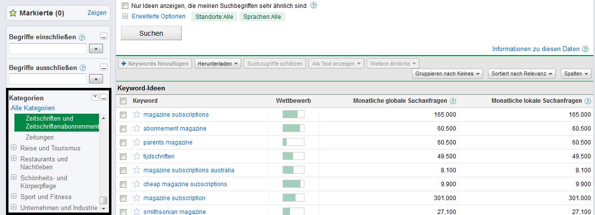Abfrage im Keyword-Tool mithilfe von Kategorien