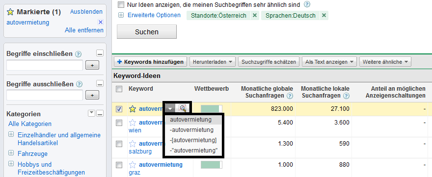 Keyword-Vorschläge im Keyword-Tool weiterverarbeiten