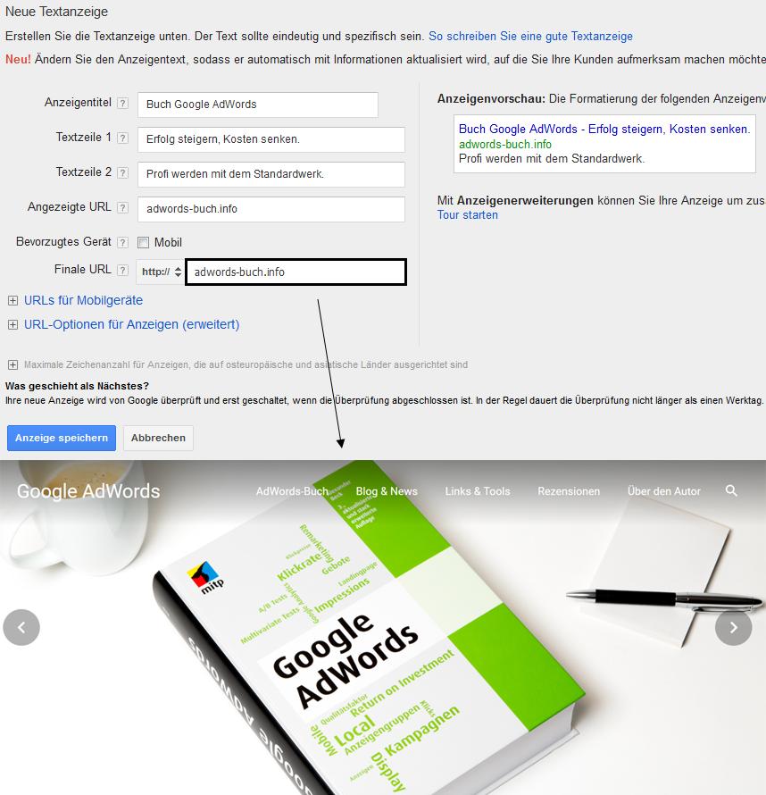 Landingpage-Split-Test im AdWords-Konto - Variante Eins