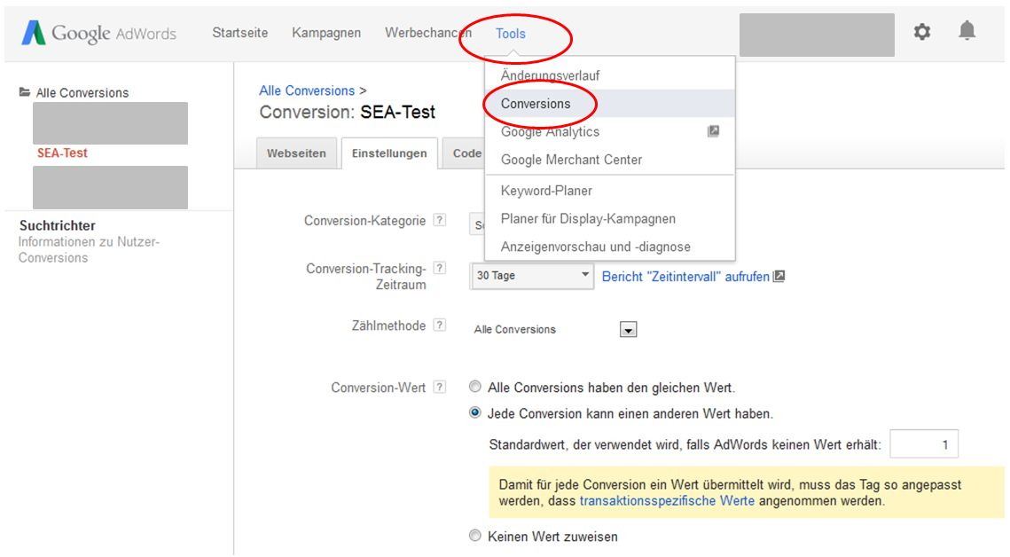 AdWords Conversion Tracking anlegen
