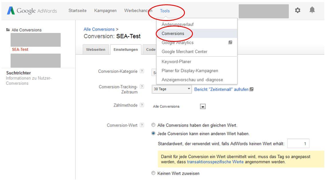 AdWords Conversion Tracking anlegen