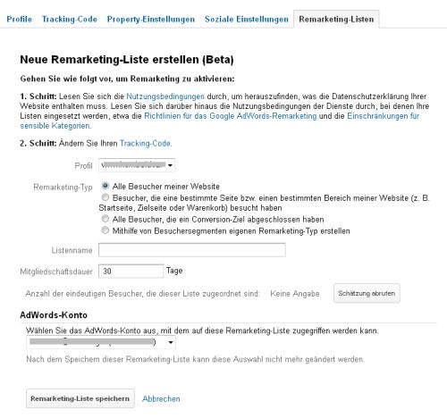Google Analytics - Einstellungen für Remarketing-Listen