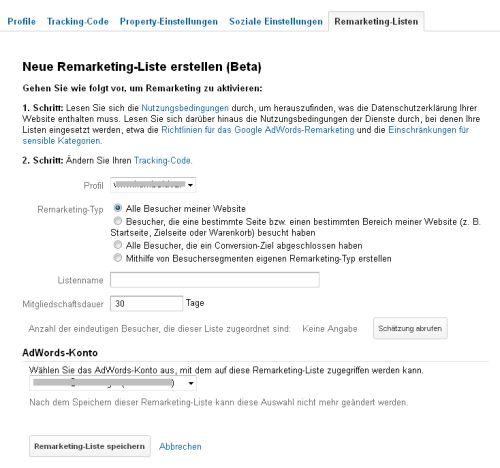 Google Analytics - Einstellungen für Remarketing-Listen
