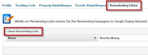 Google Analytics: Remarketing-Listen erstellen