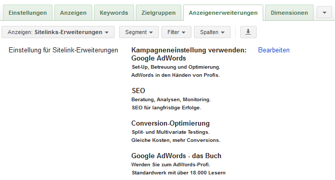 Sitelinks im AdWords-Konto