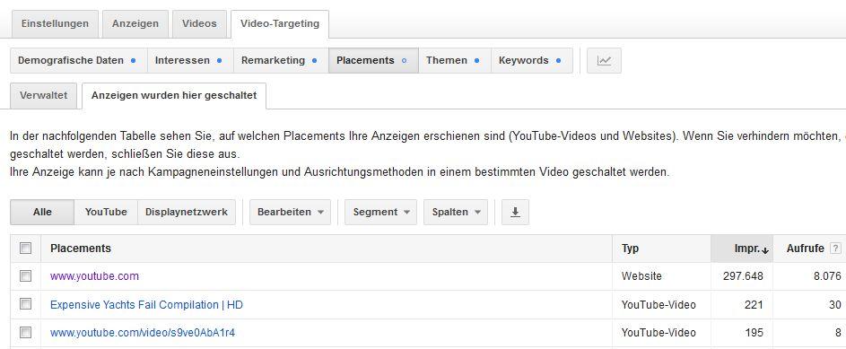 YouTube Videokampagnen - Anzeigenschaltungen aufrufen