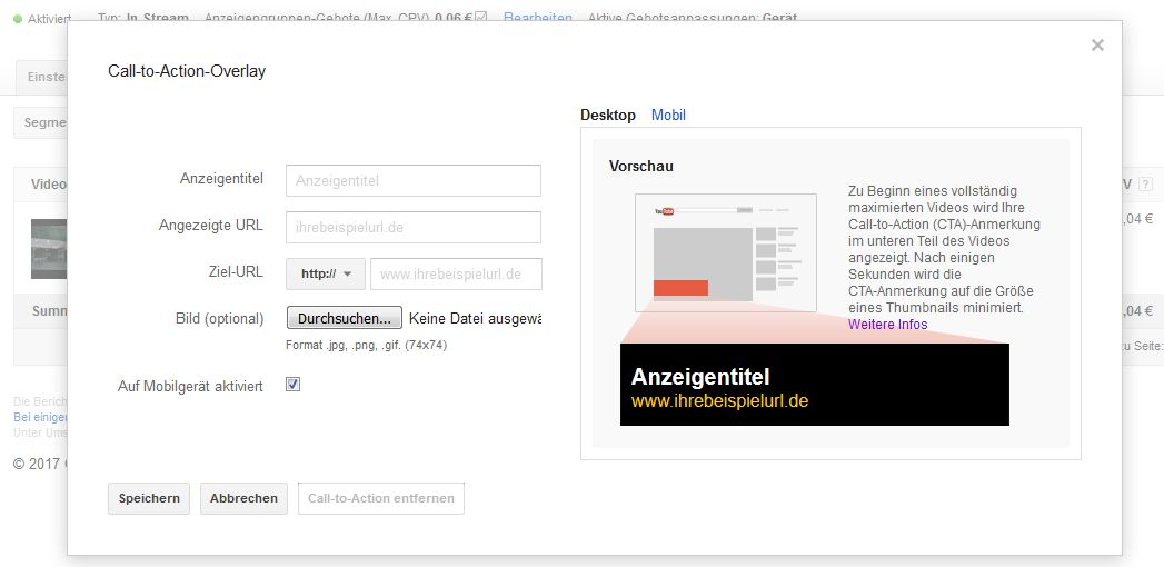 YouTube Videokampagnen - Call-to-Action-Overlay hinzufügen