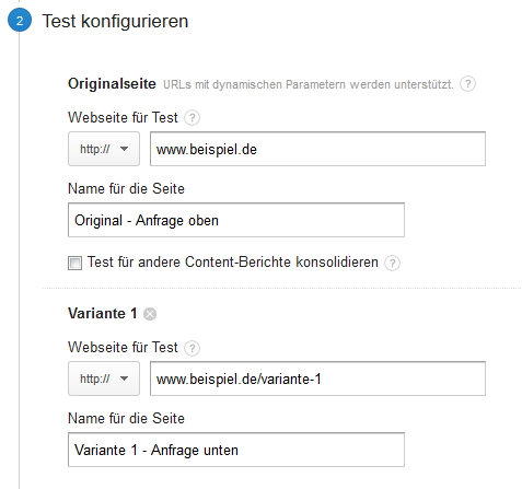 Google Analytics - Split-Tests konfigurieren
