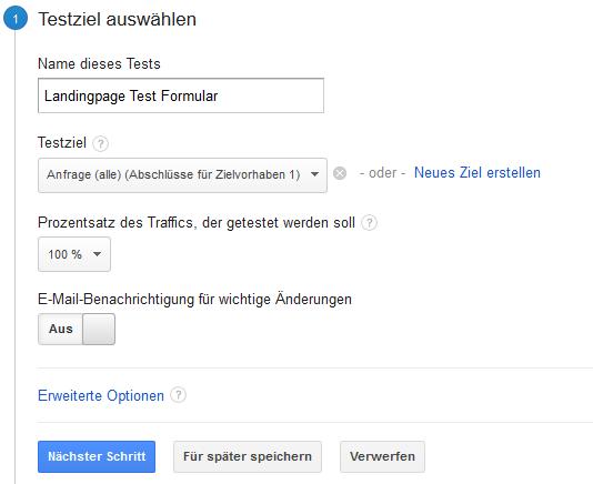 Google Analytics - Split-Testziel auswählen